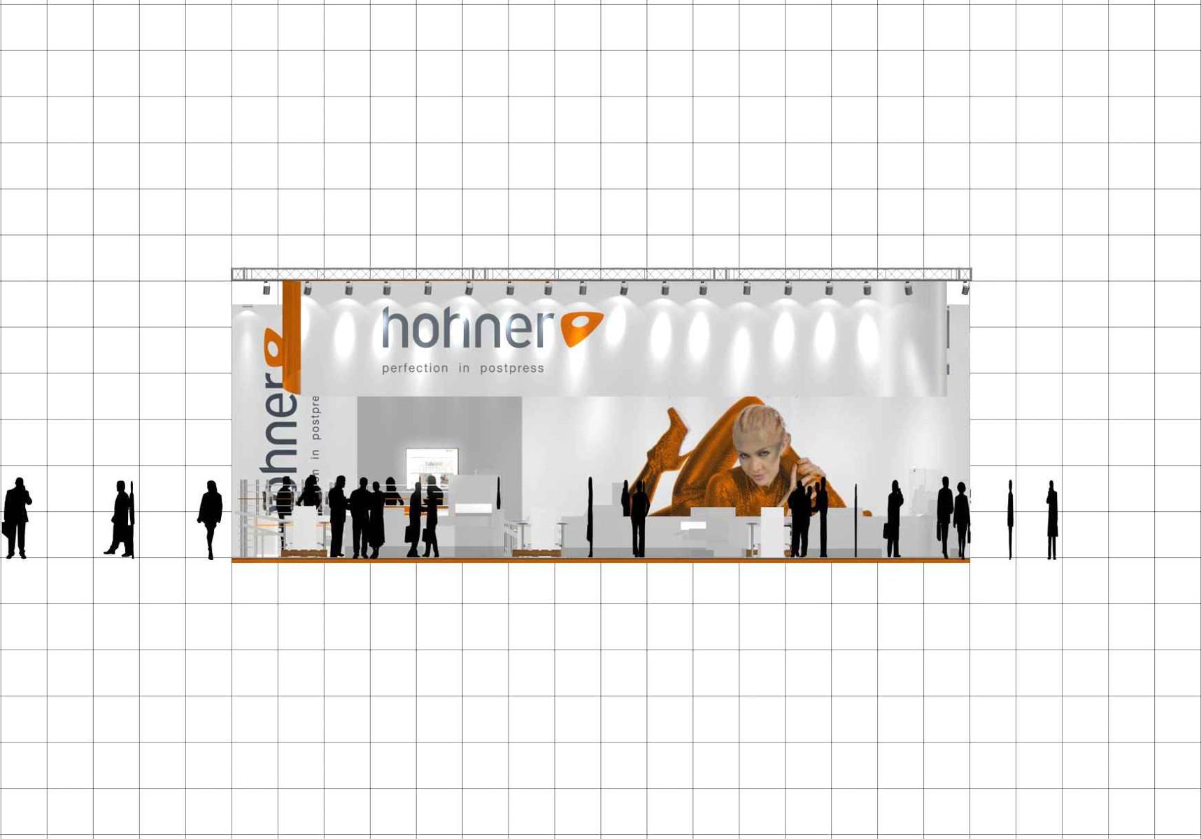 Hohner Messestand Drupa Düsseldorf Höhenschnitt 2
